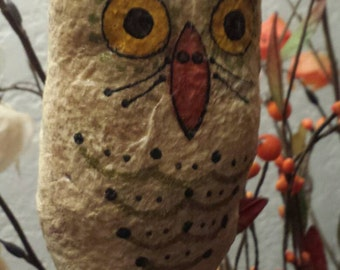 Spun Cotton Owl hanging ornie,  harvest, fall, halloween decor