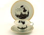 Redesigned  Mary Poppins Cup Saucer Plate Nanny Tea/ Coffee Porcelain Vintage Musical Film Big Ben London England Sugar-White Brown Romantic