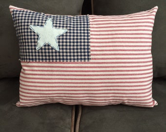 Handmade Patriotic Flag Red White and Blue Pillow