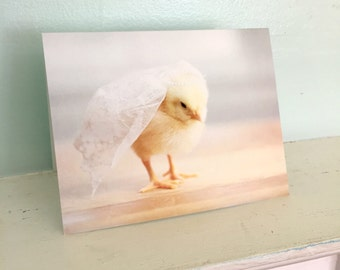 Chicken Wearing A Miniature Bridal Veil Chicks in Hats Baby Animal Wedding Cards Cute Stationary #96 Engagement Notecard