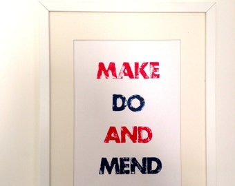 Make Do and Mend Letterpress Print