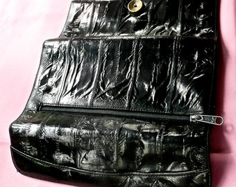 Vintage Wallet - Black Eel Skin Leather- Woman's Full Size Wallet - Soft Texture -Multi Pocket Fold Over Wallet - Structured