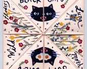 Black Cat Strawberry Pink Fortune Teller Fold Out Zine halloween WOW COOL
