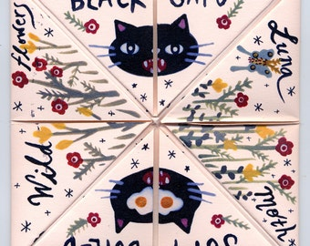 Black Cat Strawberry Pink Fortune Teller Fold Out Zine WOW COOL