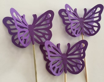 24 Pieces DARK PURPLE Butterfly Cupcake Toppers, Birthdays, Party Decor, Weddings, Showers