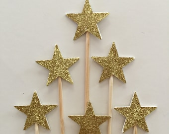 30 Pieces GOLD GLITTER STAR Cupcake Toppers/Birthday Party/Bridal Shower/Wedding