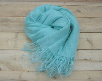 Mint linen scarf, scarf with knot fringe, linen scarves, scarf linen, linen shawl, pure linen scarf, women scarf, men scarf