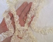 Divine Ruched Antique Silk Ribbon Applique Gorgeous Ribbonwork Large Fragment Late 1800s Salvaged from a Silk Wedding Gown Cream Ribbon Work