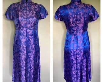 Beautiful Oriental Blue/Purple Tunic Top - Size Small