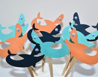 12 Shark Cupcake Toppers / Shark birthday / Shark Invitation / Shark Decor / Shark Party Favor/ Shark Decorations / Shark / Shark Banner