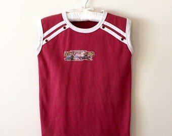 80s Marines Dark Red Graphic Sleeveless Muscle Tee, Boys Size 6 to 7