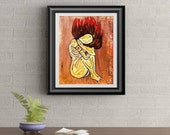 Fire Nymph Signed Art Print of Original Sold Painting By Rafi Perez