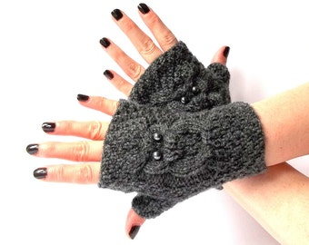 Knit Owl Gloves. Knit Fingerless Gloves. Knitted Short Gloves. Knit Mittens. Owl Mittens. Wrist Warmers. Winter Gloves.