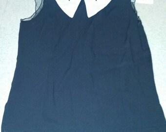 vintage retro black big white collar dressy women's shirt
