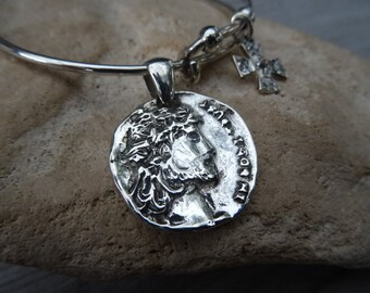 Sterling silver Jesus bangle bracelet. Roman coin style. My original.