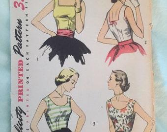 """vintage simplicity pattern blouse uncut 1953 rare 4350 sz 14 bust 32"""""""