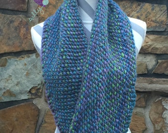 Hand Knit Lagoon Infinity Scarf Blues Purples and Greens Cowl Merino Chunky Loop