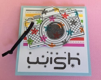 Birthday card, gift cards, gift tags, note cards, thank you cards, camera, smile, wish