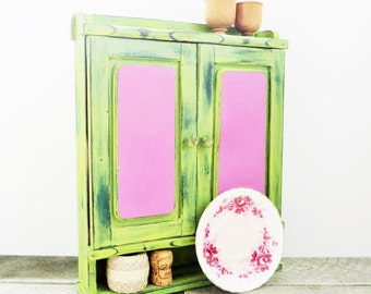 Painted Spice Rack - Rustic Modern - Citron Lilac - Vintage Upcycled Shelf