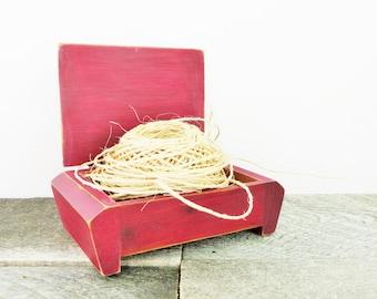 Handpainted Jewelry Box - Burgundy Ivory - Fall Wedding Ring Box - Trinket Box