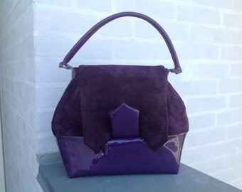 Early 1940s inspired purple leather handbag