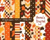 "Autumn Leaves Digital Papers - Matching Solids Included - 25 Papers - 8.5"" x 11"" - Instant Download - Commercial Use (083)"