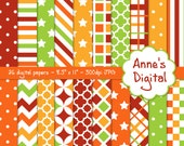 "Red, Orange, Gold, and Green Digital Papers - Matching Solids Included - 25 Papers - 8.5"" x 11"" - Instant Download - Commercial Use (248)"