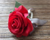 Red Rose Corsage, Red Rose with silver grey ribbon and rhinestone accent, pearl bracelet
