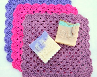 Crochet Washcloth Pattern, USA terms, Granny Square Design - Dishcloth or Washcloth (UK available also) - by Amanda Jane, Ireland