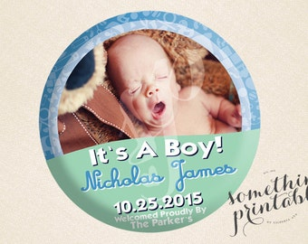 Oh Baby - Celebration Button Inspired Birth Announcements