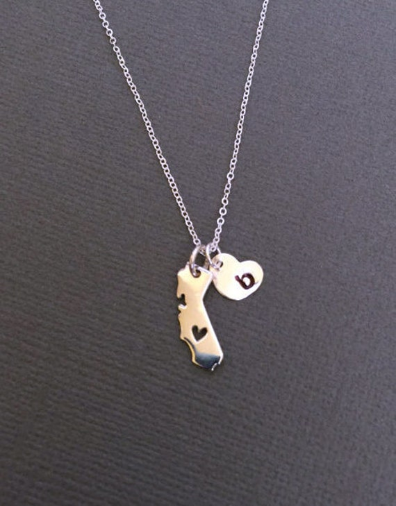 tiny california state charm necklace with an initial
