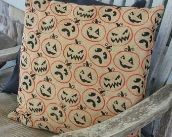 Natural, Orange & Black Pumpkin Print Burlap Cushion Cover