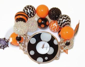 Halloween Fun Chunky Beaded Watch-Halloween Interchangeable Watch-Halloween Bracelet Watch-Orange and Black Halloween Watch-Teacher Watch