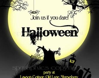 Halloween Invitation - Custom - Halloween Party Invite Printable