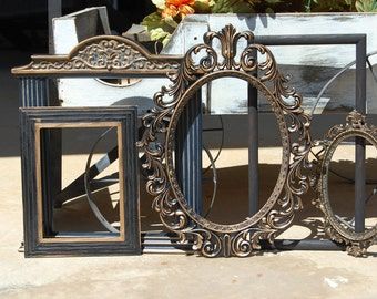 Black And Gold Picture Frame - Shabby Chic Decor - PICTURE FRAMES - Upcyled Frame Set - Painted Frames