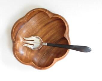 vintage monkey pod wooden salad bowl vintage hawaiian salad bowl food decor boho - Wooden Salad Bowls