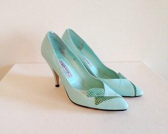 New Wave 1980s Aqua Blue Pumps Heels Size 8
