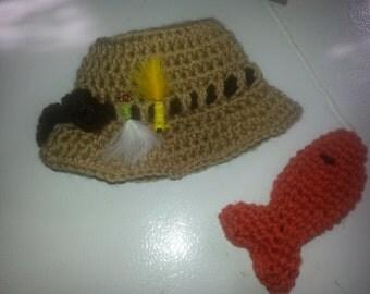 Newborn fisherman hat and little fish