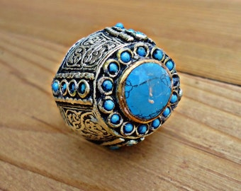 Unique Afghan Turkmen Turquoise Silver Ring.  Nomadic Ring. vintage jewelry. Gypsy Ring. Bohemian Ring.Afghani jewelry- Turquoise dome ring