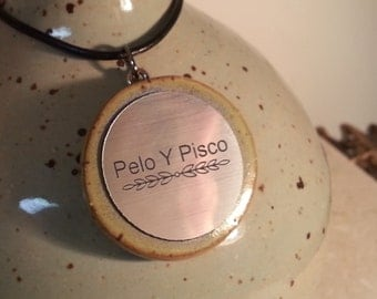 Stoneware Glazed Pendant with Engraved Nameplate on Leather or Hemp Cord to be added to your Custom Memorial Urn
