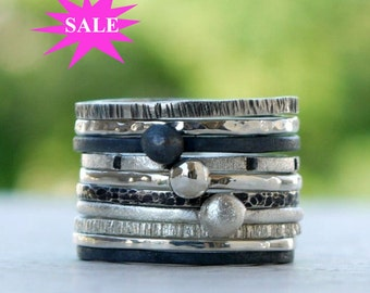 Sterling silver rings set of 7 - Skinny stacking rings, silver bands set, hammered rings, hammered bands -  Pick any 7. SALES 15%OFF
