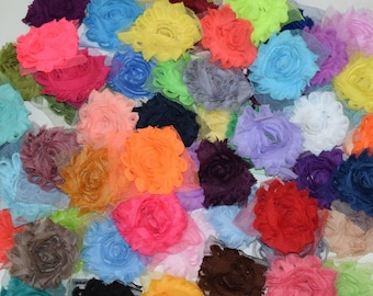 "Pack of 12 Chiffon Flower Shabby Rose Trim mix 2.5"" inch size frayed chiffon Print or Solid"
