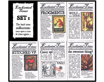 Set of 5, Fairytale Newspaper Archive - Enchanted Times Mini Zine back issues - whimsical fractured fairy tale fiction, Grimm humour