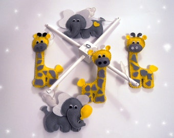 Baby Crib Mobile - Music Baby Mobile - Felt Mobile - Nursery mobile - Funny elephants and giraffes
