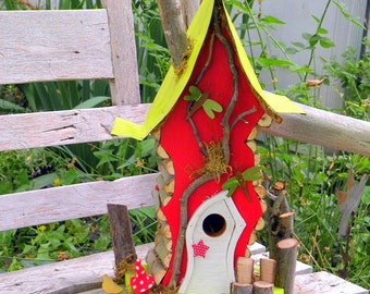 bird house, Birdhouse, Tall Crooked Woodland Birdhouse in custom colors, custom birdhouse, made to order birdhouse, garden art, gift