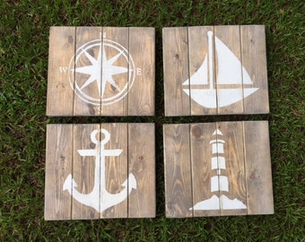 Rustic Nautical Art -  Lighthouse, Compass, Sailboat and Anchor - Nursery decor - Beach Coastal decor