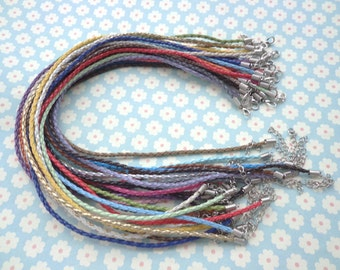 100pcs asorted colors faux braided leather necklace cord 18-20 inch with white k fittings