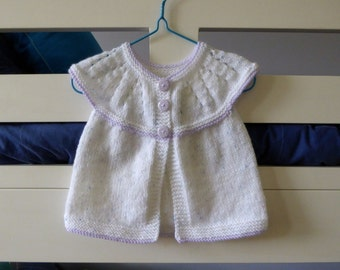 Knitted baby sweater, short sleeves - white and purple knit cardigan, baby girl 6 months