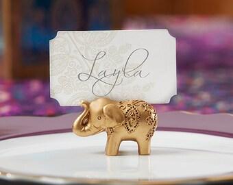 Gold Wedding Placecard Holders (Set of 12); Gold Wedding Favors; Elephant Wedding Decor