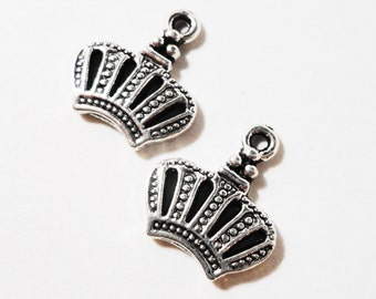 Silver Crown Charms 12x12mm Antique Silver Metal King Queen Princess Prince Royalty Charm Crown Pendant Jewelry Making Craft Supplies 10pcs
